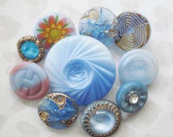 Blue and Gold Czech Buttons - Vintage Czech Glass Flower Button - Assorted Blue Glass Buttons - Blue Swirl Button - Blue Rhinestone Buttons