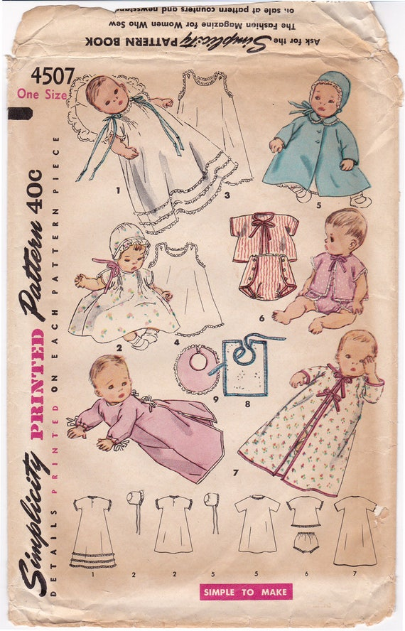 1950s Simplicity 4507 Infant Layette Vintage Sewing Pattern, Baby ...