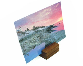 Wood Block Postcard Holder, Photograph Display, Wooden Photos Holder, Postcard Holder, Print Display, Keepsake Stand, Photo Display