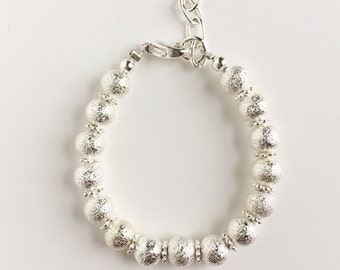 Silver Shimmer Bracelet w/flower spacers