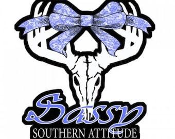 "Sassy Skull Southern Attitude Car Decal 5"" x 4"""