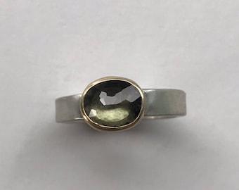 Blue Green Tourmaline Ring
