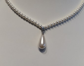 Rachel Canadian Pearls with handset Swarovski crystals.  18 inch.  White pearls. Teardrop  New Perfect for Bride or Prom