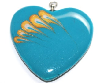 OOAK Heart Pendant - Turquoise, Gold, Pearl |PC-325