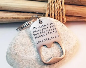 Father of the Groom, Key Chain, Bottle Opener, Gift from Bride, Wedding Favor for Dad, Wedding Gift for Dad