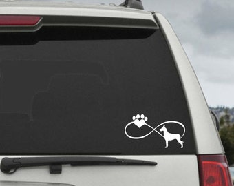 Great Dane Infinity Paw Heart Decal  - Car Window Decal Sticker