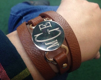 Monogrammed Leather Wrap Bracelet. Graduation. Mother's Day