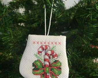 Candy Cane Mitten Ornament