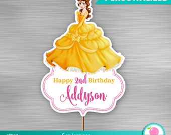 Belle Princess centerpiece print yourself, Princess Birthday, Princess DIY topper, Princess Printables