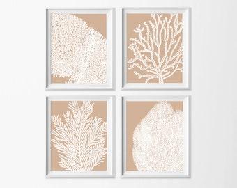 Beige Sand Coral Wall Art , Beach Art Printable , Neutral Wall , Dining Room Art , Coastal Art Nursery , Cottage Art , Neutral Bathroom Art