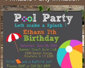 Printable Invitation, Pool Party Chalkboard Birthday Invite, Peronalized Chalkboard Swimming Party Invitation, Kids Summer Party