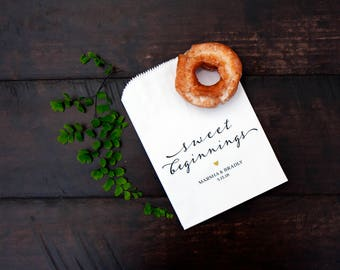 Sweet Beginnings Wedding Favor Bags -  Wedding Cookie Bag, Candy, Donut Favor Bag - Vintage Script - White Wax Lined Bags - 20 Favor Bags