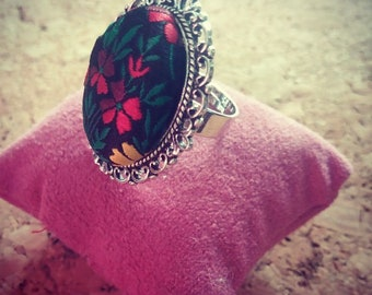 Fabric Cabochon Ring