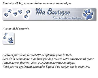 """Banner and avatar """"dog Paws"""" blue version for shop"""