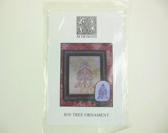 """Joy Tree Cross Stitch Ornament and Picture Cross Stitch Pattern, Turn It On Its' Side To See """"Joy"""", Holiday Decor, Christmas, Tree"""
