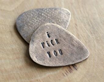 Personalized Bronze Guitar Pick, Custom Message, Handcrafted, Men's Gift, Husband, Boyfriend, Groomsmen, Statement Gift
