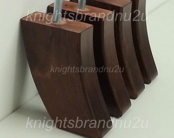 4x Wooden Mahogany Furniture Legs Feet For Sofas, Settees, Chairs, Footstools M8