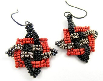 Deep Red and Black Artisan Earrings, Celtic Knot Inspired Geometric Jewelry