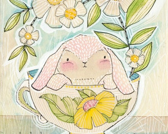 Easter Decoration, Pink Bunny in a tea cup Art Print 8 x 10 watercolor illustration Animal Themed Nursery Baby Room Seasonal Spring Decor