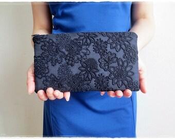 Navy blue clutch purse, Lace clutch purse, lace embroidered fabric clutch, evening purse