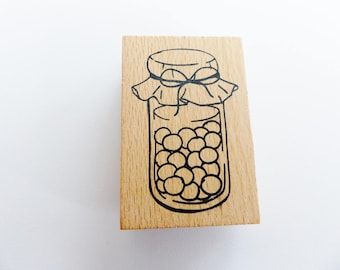 canned fruit 4 x 6 cm pot wooden stamp