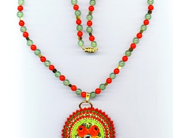 Beadwoven Floral Pendant Necklace . Flower Mosaic . Peyote Beadwork . OOAK Christmas Brooch - Red and Green Mosaic by enchantedbeads on Etsy