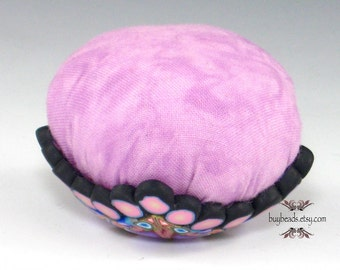 Polymer Clay Pincushion, Handmade, Pale Pink, Purple, Cornflower Blue, White, Black