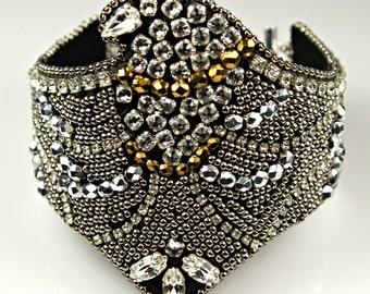 Eagle Swarovski  Bead Embroidery Statement Cuff  Bracelet