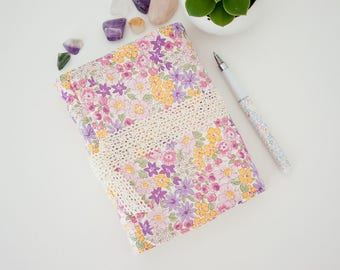 Summer Journal with Unlined Pages - Fabric Journal Diary with Lace Wrap - Great Gift for Mother