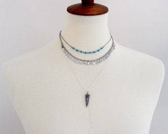 Silver Layered Lariat Necklace