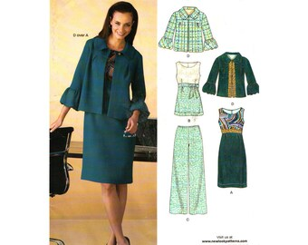 Jacket, Empire Dress or Top, Pants Pattern New Look 6835 Wide Trousers Womens Size 10 to 22 Plus Sewing Pattern UNCUT