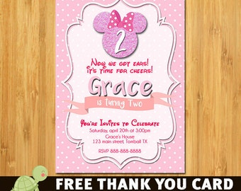 Minnie mouse Invitation, Minnie Mouse  invite- Minnie invitation- Birthday invitation- free thank you card