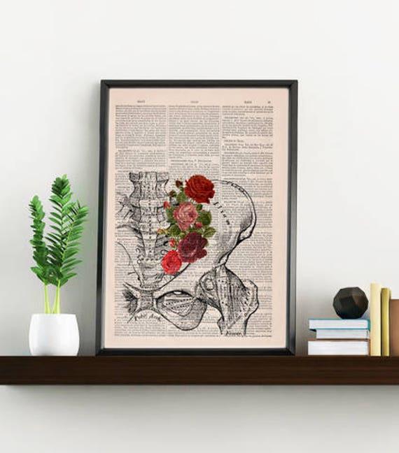 Springtime Pelvis Decorative Art, Flowers on Skull ,Nature Inspired Print Wall hanging print, Plevis Art flowers SKA136