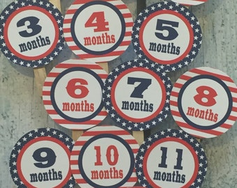 STARS AND STRIPES 4th of July First Birthday Photo Clips Banner Red White Blue-Party Packs Available
