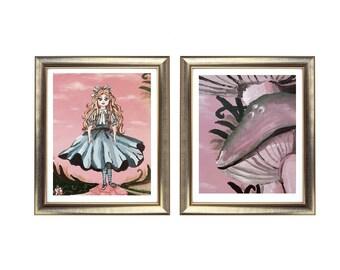 Alice in Wonderland Print Set, Alice in Wonderland Painting, Wonderland Artwork, Abstract Alice in Wonderland Art Print. Original Abstract