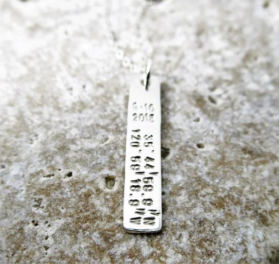 Latitude Longitude Necklace   Coordinates Jewelry   Latitude Longitude Jewelry   Sterling Silver Bar Necklace   Custom Date   Personalized