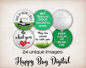 "Golf Digital Collage Sheet - 1.313 inch Round Circles for 1"" Inch Buttons Magnets Badge Reels INSTANT DOWNLOAD"