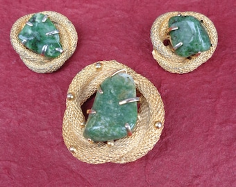 BSK Jade Nugget Brooch and Earring Set
