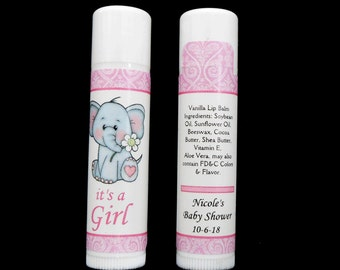 Baby Shower Favors - Lip Balm - Lip Balm Favors - Personalized - Vanilla Lip Balm - Elephant - Baby Girl Favors