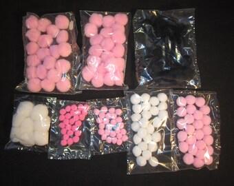 """158 pink, black, white pom poms, 3/8"""", 1/2"""", 5/8"""", 1"""", for crafts, vintage stock, USA"""