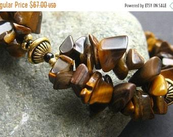 SUMMER SALE Tigers Eye Cuff Bracelet Beaded in Gemstones and Gold. Handmade Bracelet.
