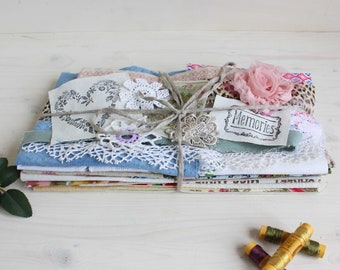 Mixed fabrics and trims scrap fabric bundle