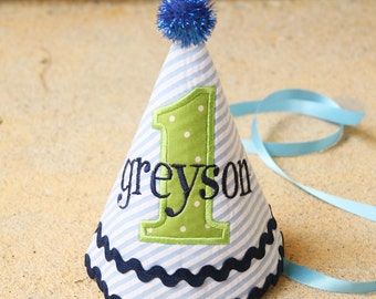 Boys First Birthday Party Hat - Dapper blue and white stripes with green and navy blue accents - Free personalization
