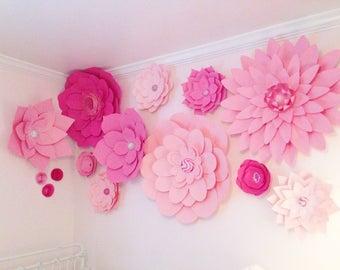 Set of 14 Large Paper Flowers - Paper Flower Wall | Paper Flower Backdrop | Baby Nursery | Home Decor | Wedding Backdrop | Little Girls Room