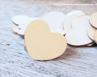 """100 Blank 1-1/2"""" Wood Hearts, Wood Confetti Engraved Love Hearts- Rustic Wedding Decor- Table Decorations- Small Wooden Hearts"""