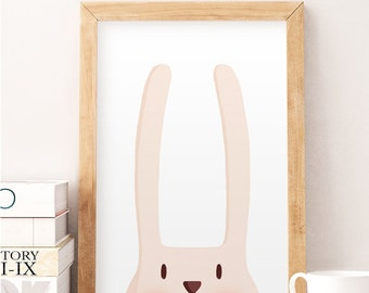Rabbit illustration, Kids room art, Cute animals print, Animals wall art, Wall art, Baby room wall art, Baby illustration, Cute wall decor