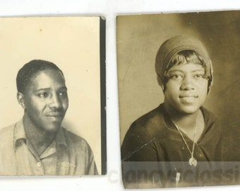 vintage photo 1939 Two African AMerican Photo Booth Man Woman 2 photo lot photobooth