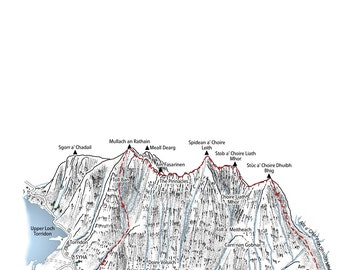 3D mountain map of the full traverse of Liathach