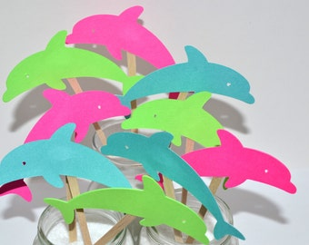 12 Dolphin Cupcake Toppers / Birthday Cupcakes / Dolphin Cake / Dolphin Baby Shower / Under the Sea / Pool Party Birthday