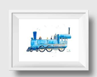 Blue Train Print Train Nursery Print Train Wall Art Boys Room Decor Train Decor Train Art Baby Boy Nursery
